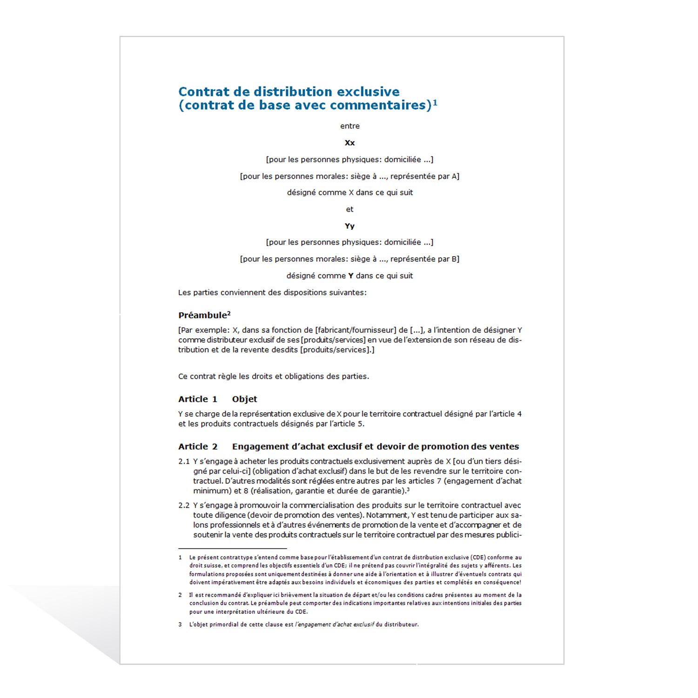Modèle de contrat de vente exclusive - weka.ch