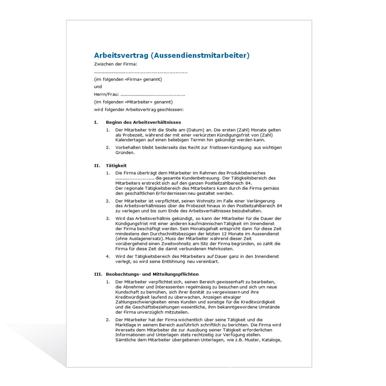 muster arbeitsvertrag aussendienstmitarbeiter - Arbeitsvertrage Muster
