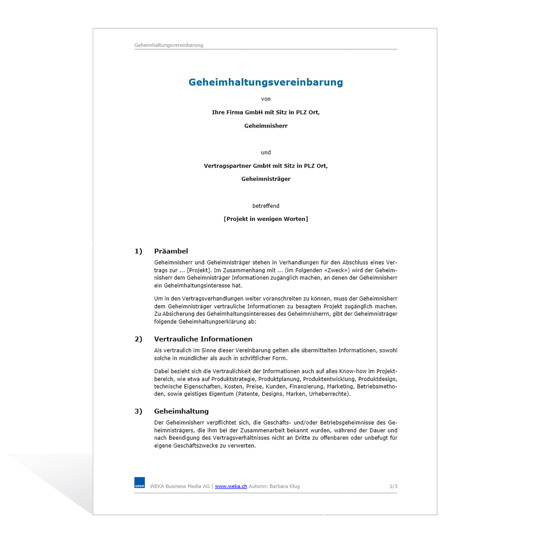 Nda Geheimhaltungsvereinbarung Muster Kostenlos Downloaden