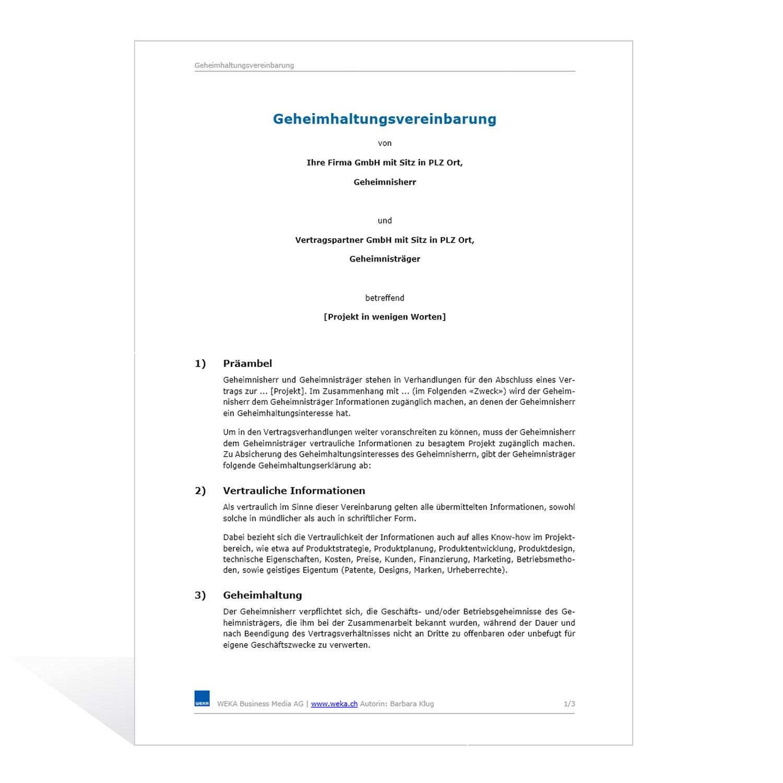 Geheimhaltungsvereinbarung Arbeitsrecht 2021