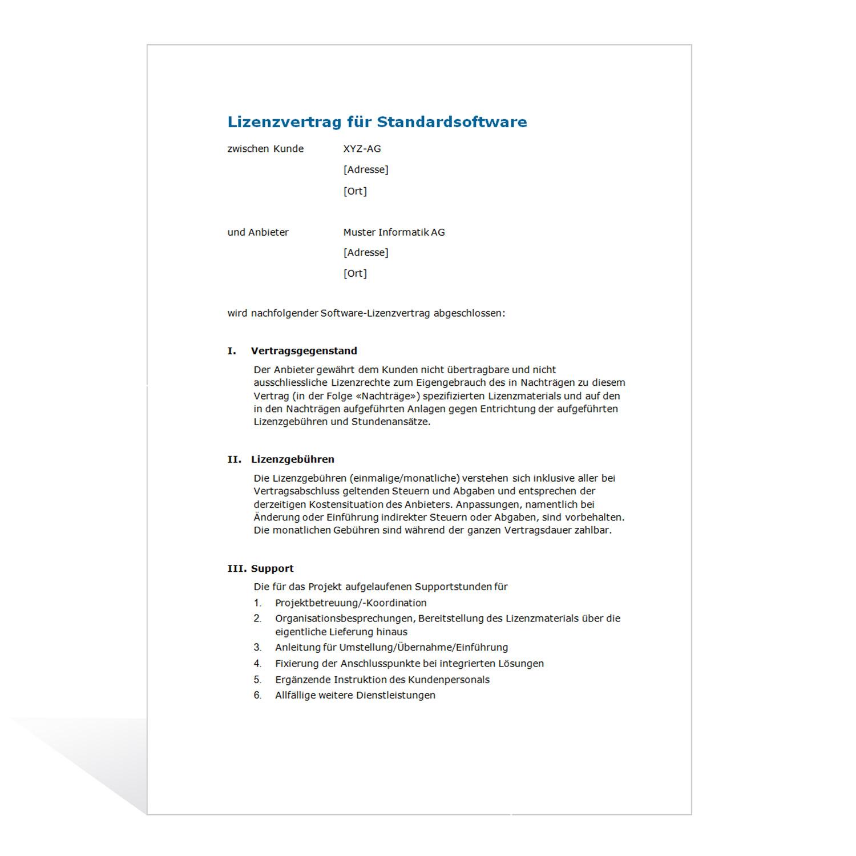 Muster Lizenzvertrag (Standard-Software)