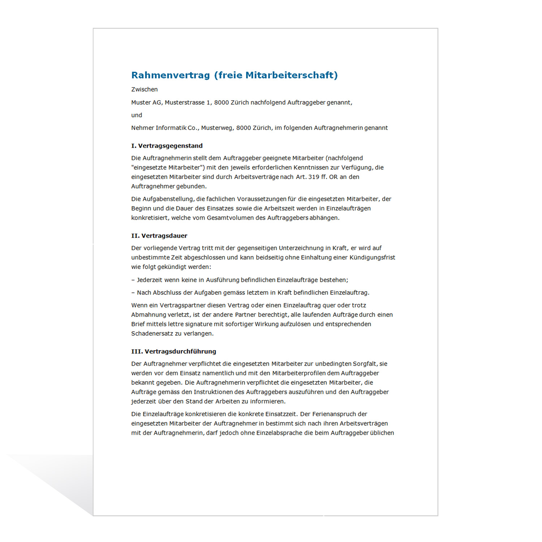 Muster Rahmenvertrag Freier Mitarbeiter