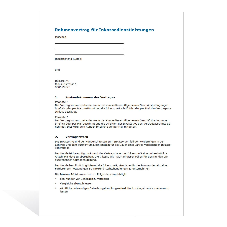 Mustervertrag für Inkassodienstleistungen