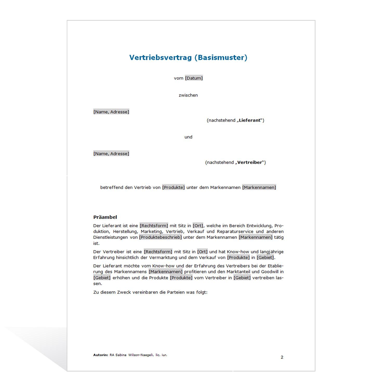 muster vertriebsvertrag basismuster - Muster Kooperationsvertrag